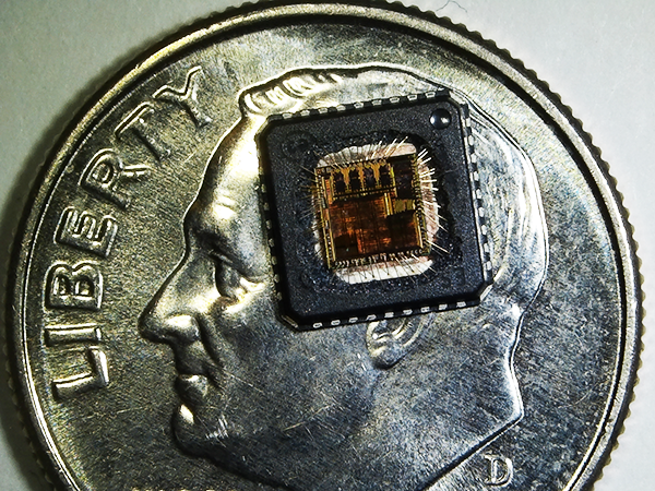 Decapsulated IC Package on a dime